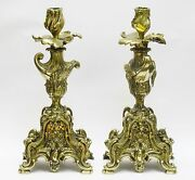 Pair Of Magnificent Massive 19c French Belle Epoque Dore Bronze Candle Holder