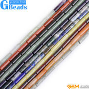 4x12mm Assorted Stones Column Tube Beads For Jewerly Making Free Shipping 15