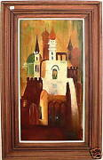 Oriental Palace Large Original Oil Painting, Wood Frame And Signed Magical Castle