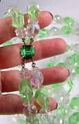 Estate Vintage Huge Brilliant Mint Green Clear Crystal Bead Two Strand Necklace