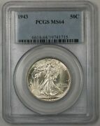 1943 Walking Liberty Silver Half Dollar Coin 50c Pcgs Ms-64 Better Coin 1a