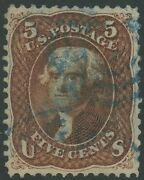 75 Vf+ Used With Blue Cancel -- Rare -- Deep Red Brown Shade Cv 930++ Hv9370