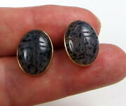 Gorgeous Rare 14k Yellow Gold And Carved Spotted Agate Scarab Bug Pierced Earrings