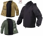 Mens Concealed Carry Soft-shell Tactical Jacket And 2 Flag Patches Rothco Ccw Coat
