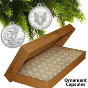 25 Direct Fit 40.6mm Christmas Ornament Coin Capsules W/hook For Silver Eagle Oz
