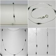 3 Pcs Lots Onyx And Sterling Silver 925 Beads Bracelets Anklets Necklaces Earrings