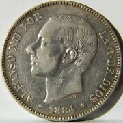 Spain Alfonso Xii Large 1884 84 Ms-m Silver 5 Pesetas Sharp Xf