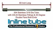 3/16 Brake Line 60 Inch Stainless Steel 3/8-24 Tube Nuts 45 Degree Double Flare
