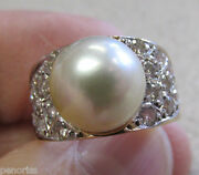 Estate Large Pearl And Diamond Ring 14k Gold Size 7-1/2 Great Look Make Offer