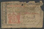 Colonial Currency Nj-212 3 Shillings Vg May 171786 -- Rare -- Hv9740
