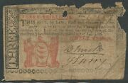 Colonial Currency Nj-212 3 Shillings Vg May 17,1786 -- Rare -- Hv9740