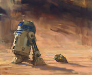 R2d2 C3po Saving Face Star Wars Attack Of The Clones Geonosis Art Giclandeacutee Canvas