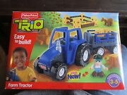 Fisher Price Trio Farm Tractor And Trailer Set Farmer Horse And More Included