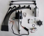 Small Cap Chevy Inline 6 Cylinder 235 Black Hei Distributor + Chrome Coil +wires