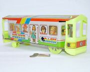India Produced Deluxe Coach Passenger Tram Trolley Tin Wind-up Toy Nm`75 Rare