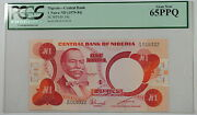 1979-84 Nigeria Central Bank 1 Naira Note Scwpm 19c Pcgs 65 Ppq Gem New
