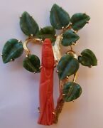 Important And Large 20k Gold Chinese Coral And Jade Carved Pin Antique