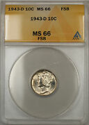 1943-d Silver Mercury Dime 10c Anacs Ms-66 Full Split Bands Better Coin 11 F