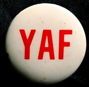 Yaf -young Americans For Freedom Button 1966 - Original Pinback Rare