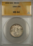 1930 Silver Standing Liberty Quarter Coin 25c Anacs Ms-64 11