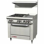 Southbend S36d-1g 36 Gas Range W/ Standard Oven 4 Open Burners W/ 12 Griddle