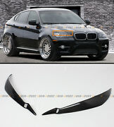 For 2008-2014 Bmw E71 X6 X6m Real Carbon Fiber Headlight Eye Lid Cover Eyebrows