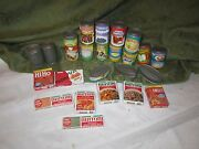 Vintage Pretend Play Toy Lot Cardboard Food Boxes Plastic Cans Fun Kitchen Gl1