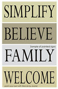 4 Pc Stencil Simplify Believe Family Welcome Country Prim Home Diy Art Signs