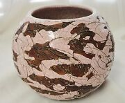 Vintage Gene Lodi California Art Studio Pottery Crackled Pink Round Vase