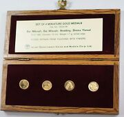 Israel 4 Piece Proof Miniature Gold State Medal Set With Wooden Case And Coa
