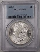 1885-o Us Morgan Silver Dollar 1coin Pcgs Ms-64 Better Rim Toned Br5 N