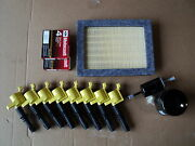Complete Tune Up Kit 8+coils Yellow+ 8 Plug Sp515/sp546+ Air, Gas, Oil Filter