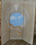 Evans And Brown Artist Muralist Roman Revival Privacy Screen Signed Dated 1985