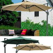 10ft Cantilever Umbrella W/ Base Offset Patio Roma Outdoor Hanging 8 Rib 57lbs