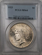 1923 Silver Peace Dollar 1 Coin Pcgs Ms-64 Better Coin Die Chip Obversebr12 A