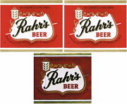 Rahrs Beer12oz Set Of 3 Labels Rahr Greenbay Brwg Co Green Bay Wi Tavern Trove