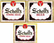 Lot Of 3 Different Unused Late-1950s Schell's Beer Labels Tavern Trove New Ulm