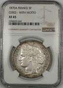 1870a Ceres With Motto France 5f Francs Silver Coin Ngc Xf-45