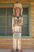 6and039 Cigar Store Wooden Indian Chief Sacred Buffalo Native American By F Gallagher