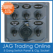 5 Gang Toggle And 1 Cig Socket Marine / Boat Waterproof Switch Panel And 3x15a Fuses