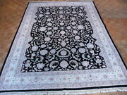 9 X 12and0392 Hand Knotted Black Persian Kashan Design Oriental Rug G312