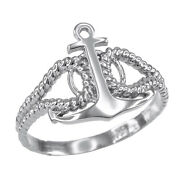 14k White Gold Fouled Anchor Rope Navy Trials Tribulations Ring