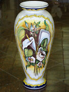 Gigantic 32 Tall Hand Painted Signed Majolica Faience Vase Made In Spain