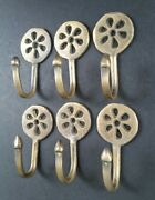6 Brass Antique Style Small Single Coat Hooks Floral Daisy Ornate 2-3/8l. C5