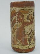Magnificent Ceremonial Stucco Painted Pre-columbian Mayan Pottery Cylinder Cup