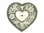 Clint Orms Rare Sterling .925 Silver Trophy Heart Buckle Longhorn And Flowers Love
