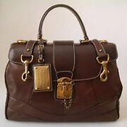 Dolce And Gabbana Women's Collection Lux Leather Miss Orient Handbag Brown Italy