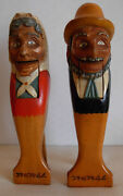 Pair Of Vintage Carved Hand Painted Figural Wooden Nutcrackers Man And Woman