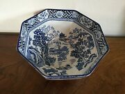 Antique Wood And Sons English Staffordshire Octagonal Bowl Kang Hi Chinese Style L