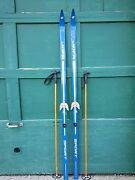 Vintage Wooden Skis 75 Long With Great Old Original Blue Finish Signed Jofa